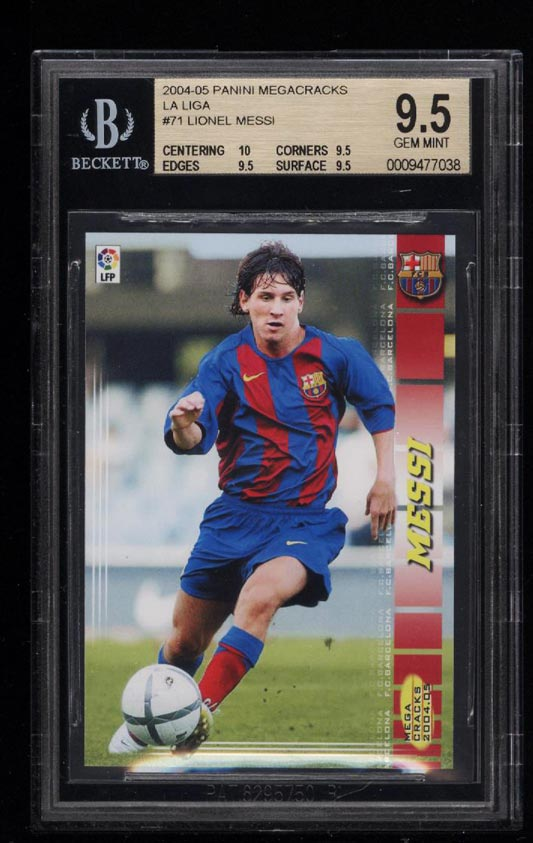 Image of: 2004 Panini Megacracks Lionel Messi ROOKIE RC #71 BGS 9.5 GEM MINT (PWCC)