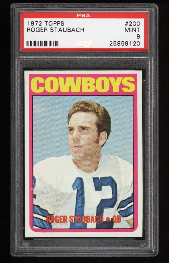 Image of: 1972 Topps Football Roger Staubach ROOKIE RC #200 PSA 9 MINT (PWCC)
