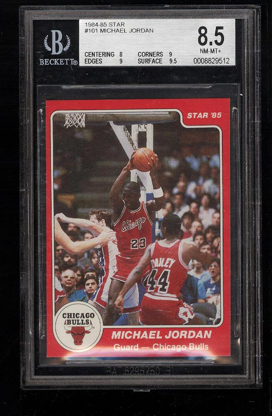 Image of: 1984-85 Star Basketball Michael Jordan ROOKIE RC #101 BGS 8.5 NM-MT+ (PWCC)
