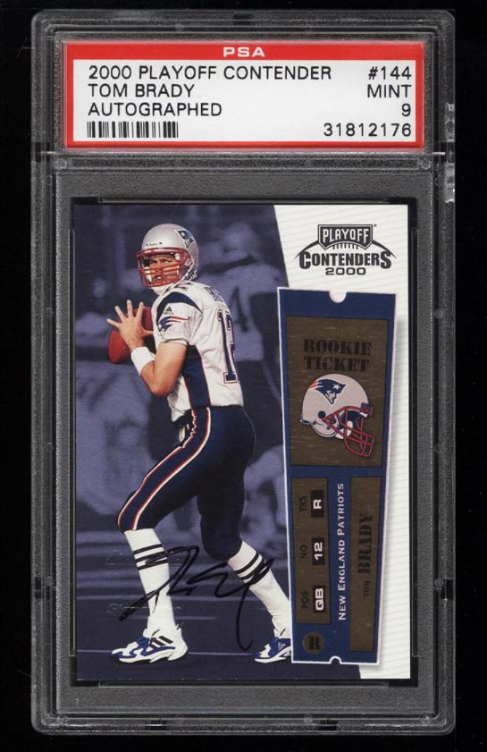 Image of: 2000 Playoff Contenders Tom Brady ROOKIE RC AUTO #144 PSA 9 MINT (PWCC)