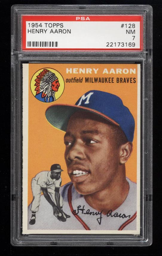 Image of: 1954 Topps Hank Aaron ROOKIE RC #128 PSA 7 NRMT (PWCC)