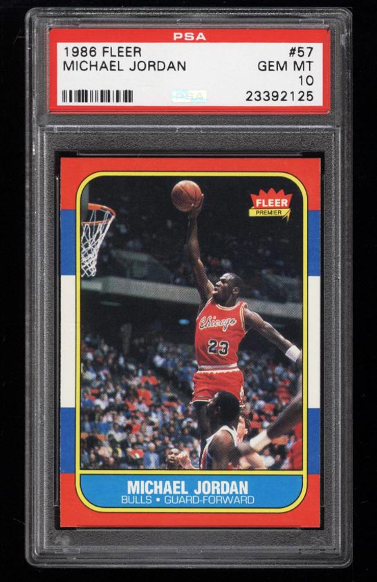 Image of: 1986 Fleer Basketball Michael Jordan ROOKIE RC #57 PSA 10 GEM MINT (PWCC)
