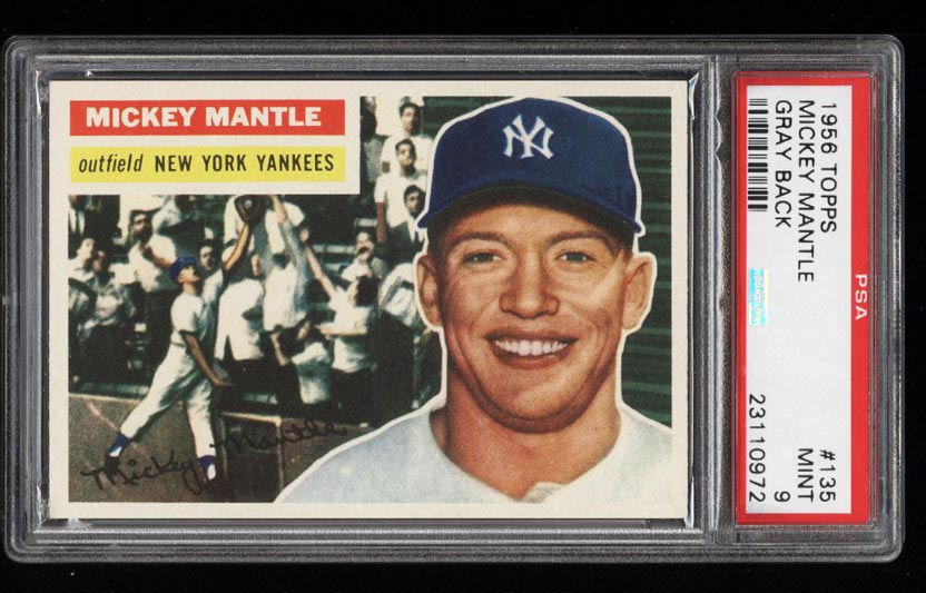 Image of: 1956 Topps Mickey Mantle #135 PSA 9 MINT (PWCC)