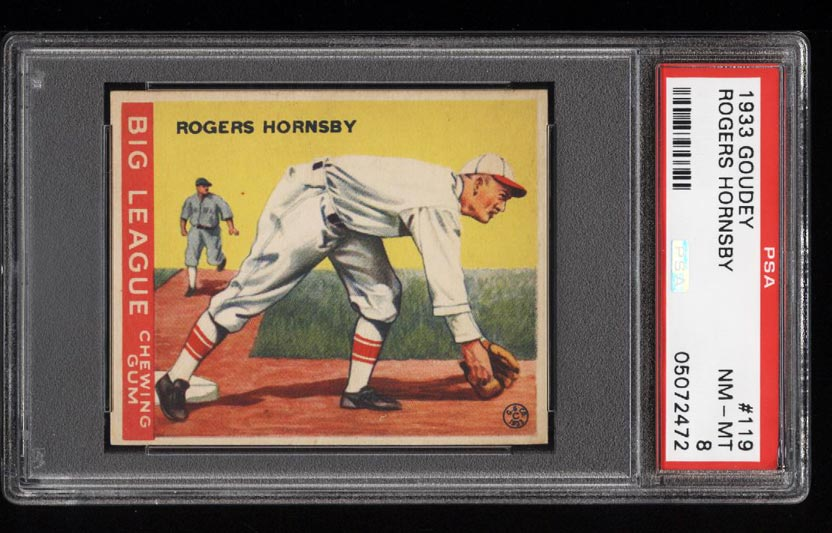 Image of: 1933 Goudey Rogers Hornsby #119 PSA 8 NM-MT (PWCC)