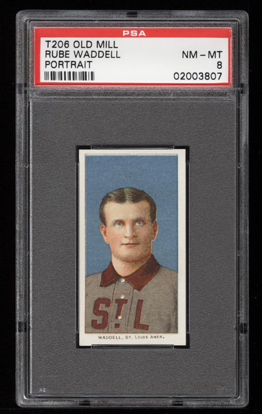 Image of: 1909-11 T206 Rube Waddell PORTRAIT, OLD MILL PSA 8 NM-MT (PWCC)