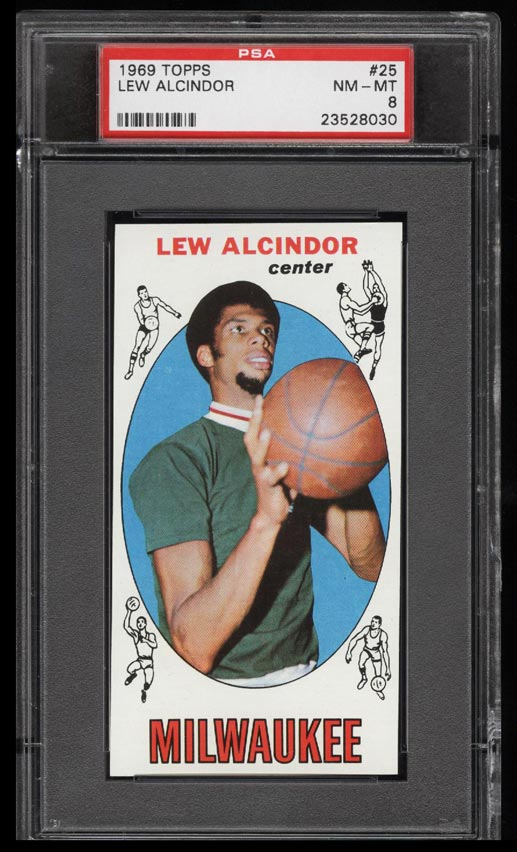 Image of: 1969 Topps Basketball Lew Alcindor ROOKIE RC #25 PSA 8 NM-MT (PWCC)