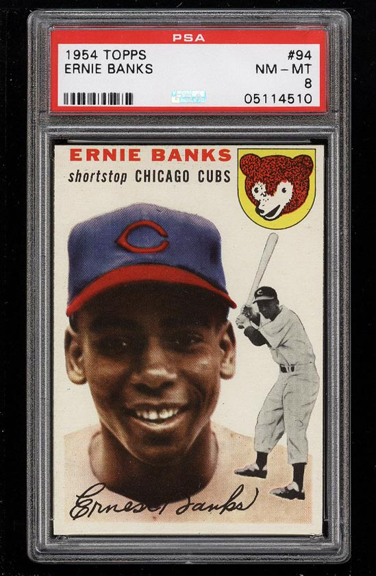 Image of: 1954 Topps Ernie Banks ROOKIE RC #94 PSA 8 NM-MT (PWCC)