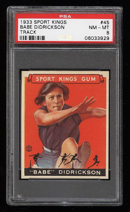 Image of: 1933 Goudey Sport Kings SETBREAK Babe Didrickson TRACK #45 PSA 8 NM-MT (PWCC-HE)