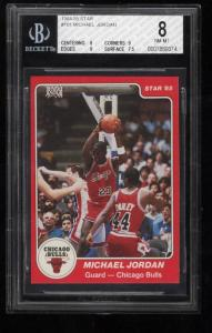 Image of: 1984-85 Star Basketball Michael Jordan ROOKIE RC #101 BGS 8 NM-MT (PWCC)