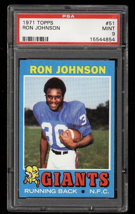 Image of: 1971 Topps Football Ron Johnson ROOKIE RC #51 PSA 9 MINT (PWCC)