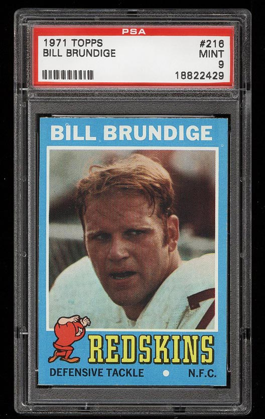 Image of: 1971 Topps Football Bill Brundige ROOKIE RC #216 PSA 9 MINT (PWCC)