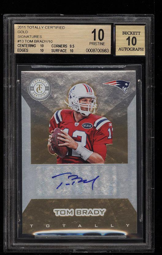 Image of: 2011 Totally Certified Gold Tom Brady AUTO /10 #13 BGS 10 PRSITINE (PWCC)