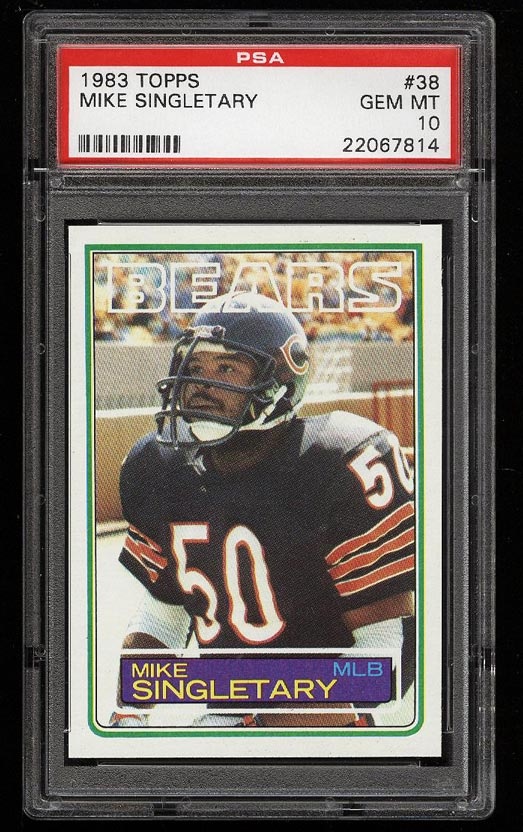 Image of: 1983 Topps Football Mike Singletary ROOKIE RC #38 PSA 10 GEM MINT (PWCC)