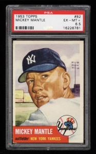 Image of: 1953 Topps Mickey Mantle SHORT PRINT #82 PSA 6.5 EXMT+ (PWCC)