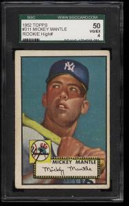 Image of: 1952 Topps Mickey Mantle #311 SGC 4/50 VGEX (PWCC)