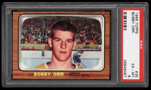 Image of: 1966 Topps Hockey Bobby Orr ROOKIE RC #35 PSA 6 EXMT (PWCC-HE)