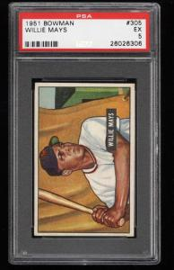 Image of: 1951 Bowman Willie Mays ROOKIE RC #305 PSA 5 EX (PWCC)