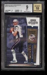 Image of: 2000 Playoff Contenders Tom Brady ROOKIE RC AUTO #144 BGS 9 MINT (PWCC)
