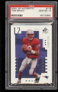 Image of: 2000 SP Authentic Tom Brady ROOKIE RC /1250 #118 PSA 10 GEM MINT (PWCC)