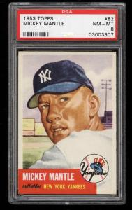 Image of: 1953 Topps Mickey Mantle SHORT PRINT #82 PSA 8 NM-MT (PWCC)