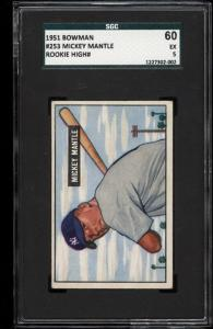 Image of: 1951 Bowman Mickey Mantle ROOKIE RC #253 SGC 5/60 EX (PWCC)