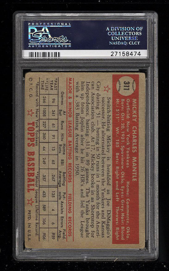 Image 2 of: 1952 Topps Mickey Mantle #311 PSA 2.5 GD+ (PWCC)
