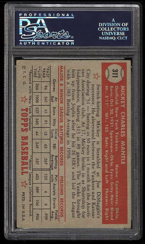 Image 2 of: 1952 Topps Mickey Mantle #311 PSA 4 VGEX (PWCC)