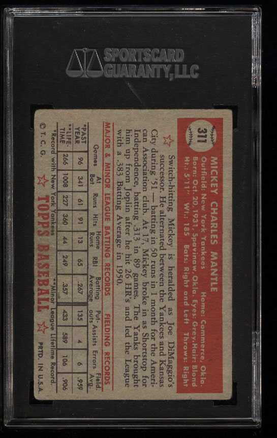 Image 2 of: 1952 Topps Mickey Mantle #311 SGC 50/4 VGEX (PWCC)