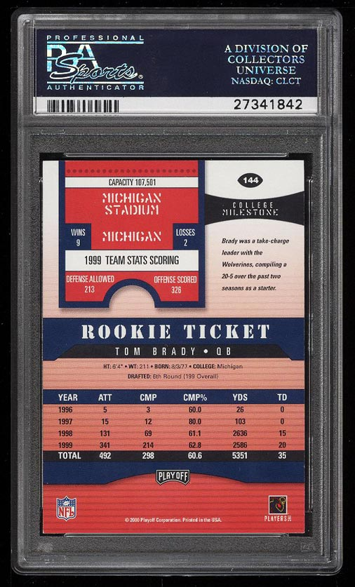Image 2 of: 2000 Playoff Contenders Tom Brady ROOKIE RC AUTO #144 PSA 8.5 NM-MT+ (PWCC)