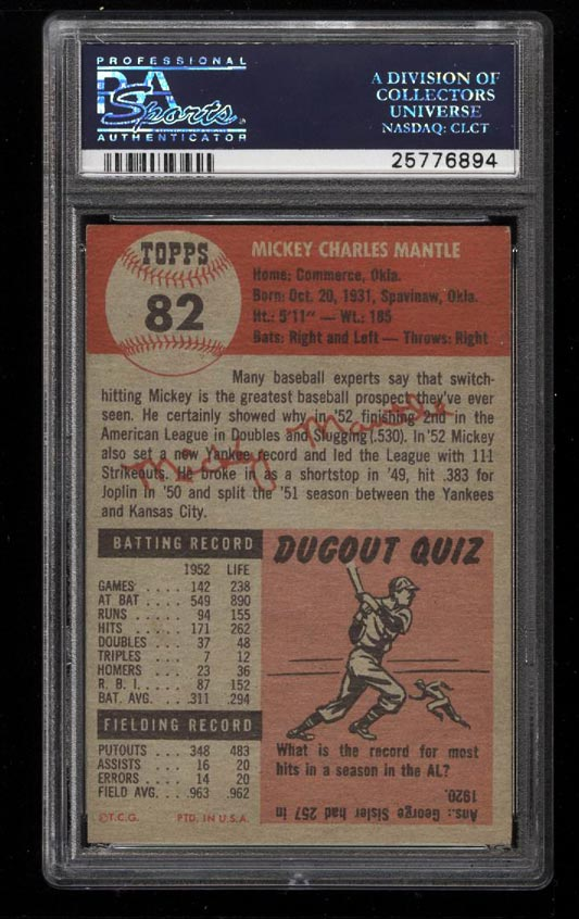 Image 2 of: 1953 Topps Mickey Mantle SHORT PRINT #82 PSA 6.5 EXMT+ (PWCC)