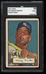 Image of: 1952 Topps Mickey Mantle #311 SGC 50/4 VGEX (PWCC)