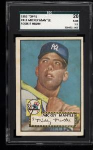 Image of: 1952 Topps Mickey Mantle #311 SGC 20/1.5 FR (PWCC)