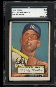 Image of: 1952 Topps Mickey Mantle #311 SGC 3/40 VG (PWCC)
