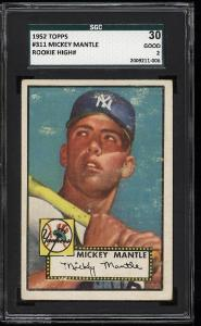 Image of: 1952 Topps Mickey Mantle #311 SGC 2/30 GD (PWCC)