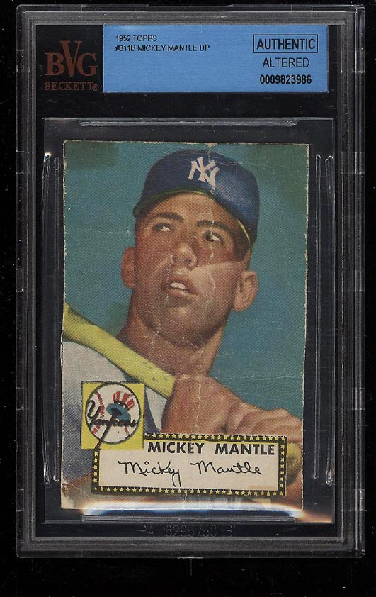 Image 1 of: 1952 Topps Mickey Mantle #311 BVG AUTH (PWCC)