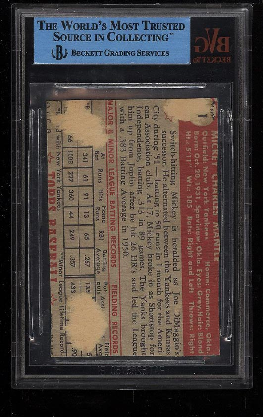 Image 2 of: 1952 Topps Mickey Mantle #311 BVG AUTH (PWCC)