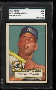 Image of: 1952 Topps Mickey Mantle #311 SGC 20/1.5 FR+ (PWCC)
