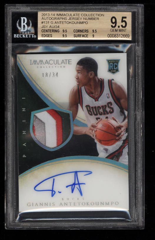 Image 1 of: 2013 Immaculate Collection Giannis Antetokounmpo RC AUTO PATCH /34 BGS 9.5(PWCC)