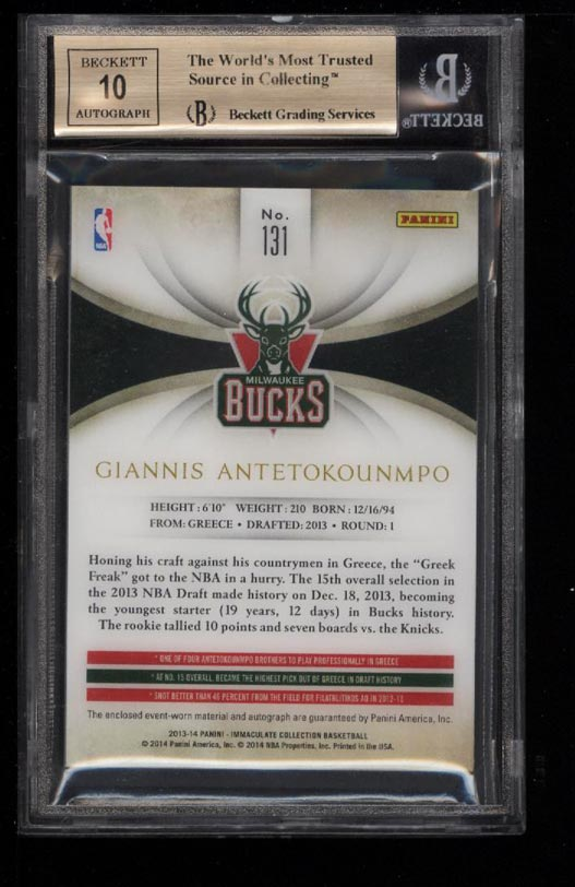 Image 2 of: 2013 Immaculate Collection Giannis Antetokounmpo RC AUTO PATCH /34 BGS 9.5(PWCC)