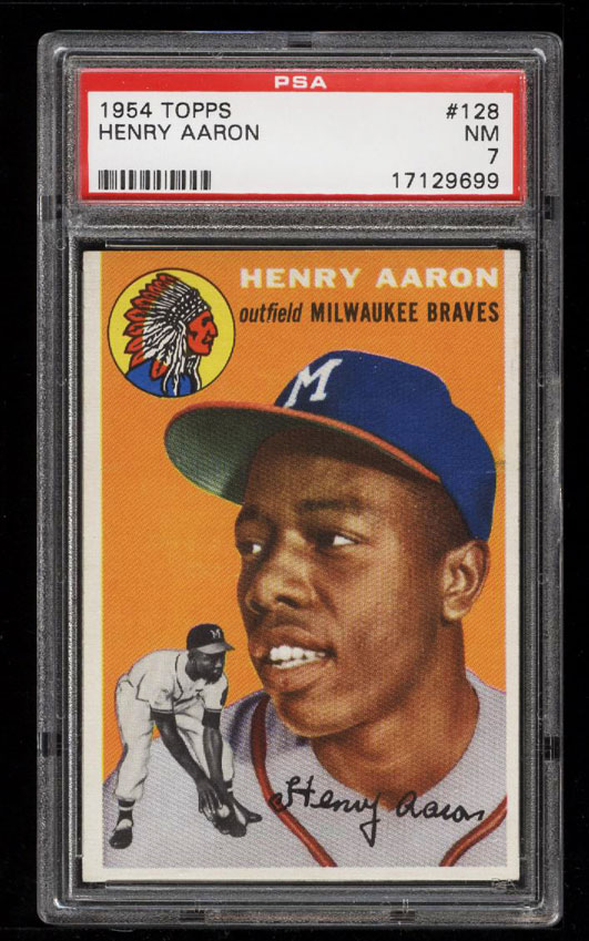 Image 1 of: 1954 Topps Hank Aaron ROOKIE RC #128 PSA 7 NRMT (PWCC)