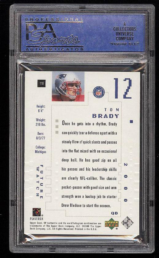 Image 2 of: 2000 SP Authentic Tom Brady ROOKIE RC /1250 #118 PSA 10 GEM MINT (PWCC)