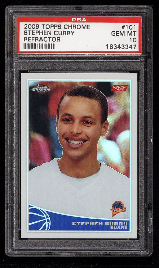 Image 1 of: 2009 Topps Chrome Refractor Stephen Curry ROOKIE RC /500 #101 PSA 10 GEM (PWCC)
