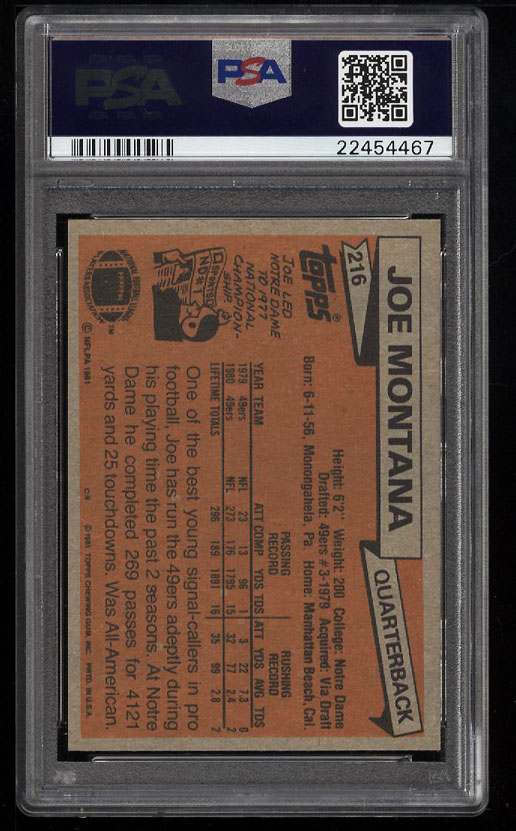 Image 2 of: 1981 Topps Football Joe Montana ROOKIE RC #216 PSA 10 GEM MINT (PWCC)