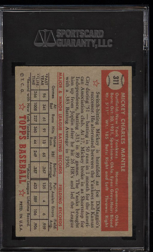 Image 2 of: 1952 Topps Mickey Mantle #311 SGC 70/5.5 EX+ (PWCC)