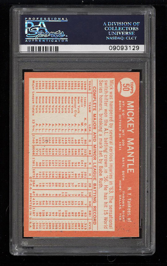 Image 2 of: 1964 Topps Mickey Mantle #50 PSA 9 MINT (PWCC)