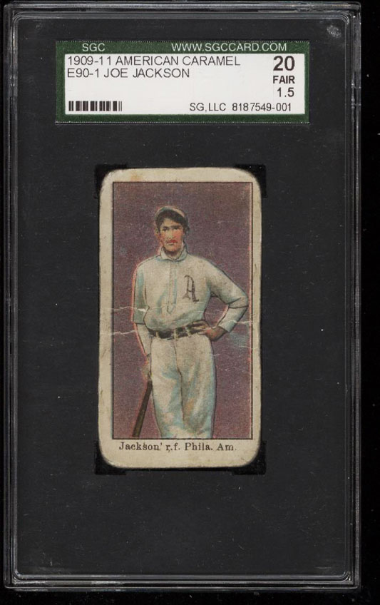 Image 1 of: 1909 E90-1 American Caramel Shoeless Joe Jackson ROOKIE RC SGC 20/1.5 FR+ (PWCC)