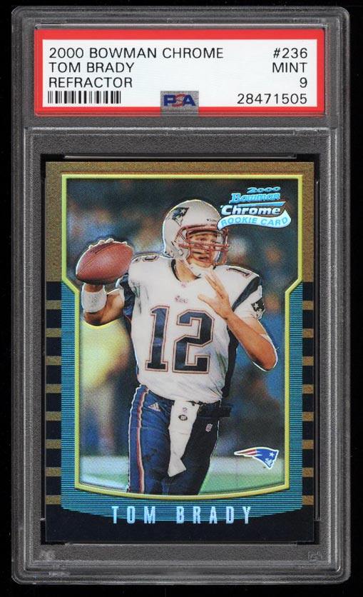 Image 1 of: 2000 Bowman Chrome Refractor Tom Brady ROOKIE RC #236 PSA 9 MINT (PWCC)