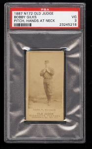 Image of: 1887 N172 Old Judge Bobby Gilks HANDS AT NECK PSA 3 VG (PWCC)