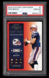 Image of: 2002 Playoff Contenders Tom Brady #7 PSA 10 GEM MINT (PWCC)