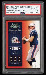 Image of: 2002 Playoff Contenders Championship Ticket Tom Brady /250 #7 PSA 10 GEM (PWCC)